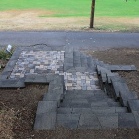 Retaining wall, paver patio with stairs