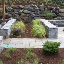 Dimensional Bluestone patio with Firepit