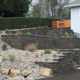Highland wall, stairs and patio